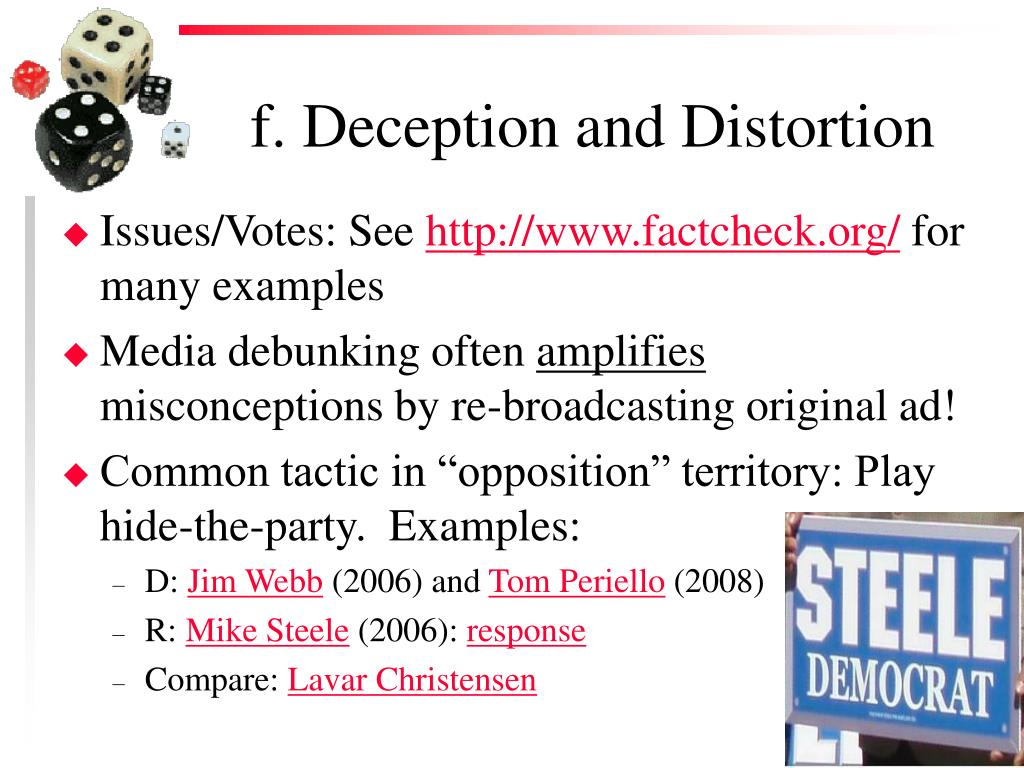 f. Deception and Distortion