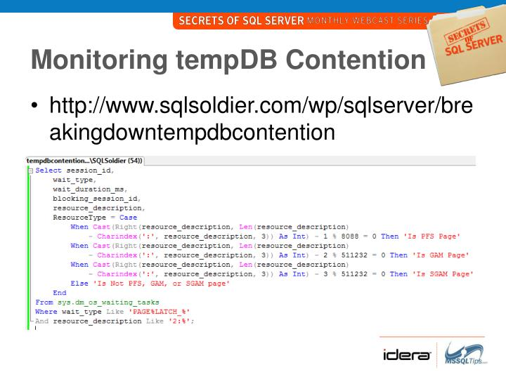 Monitoring tempDB Contention