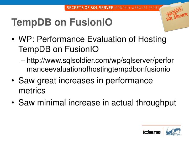 TempDB on FusionIO
