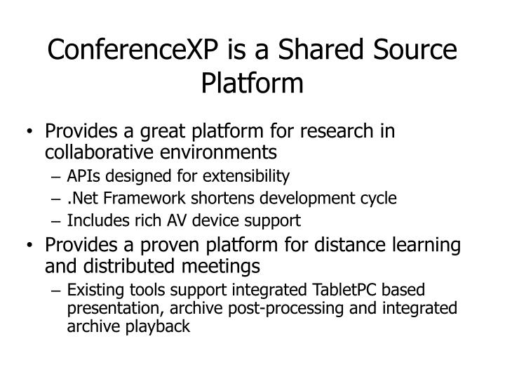 ConferenceXP is a Shared Source Platform