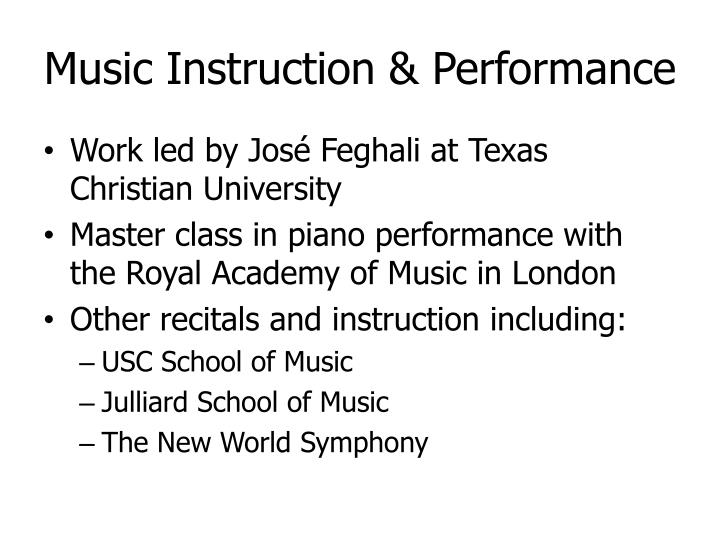 Music Instruction & Performance