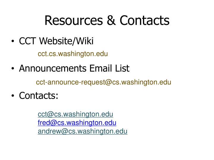 Resources & Contacts