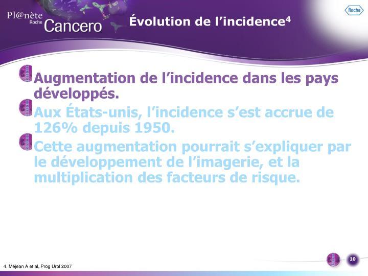 Évolution de l'incidence