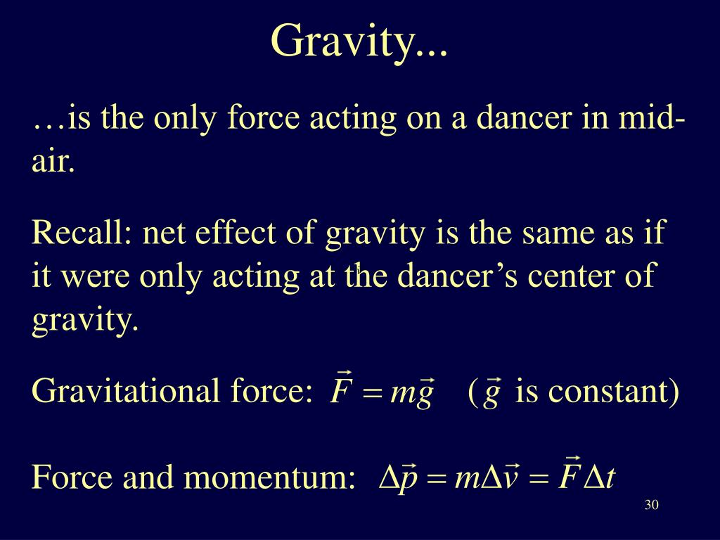 …is the only force acting on a dancer in mid-air.