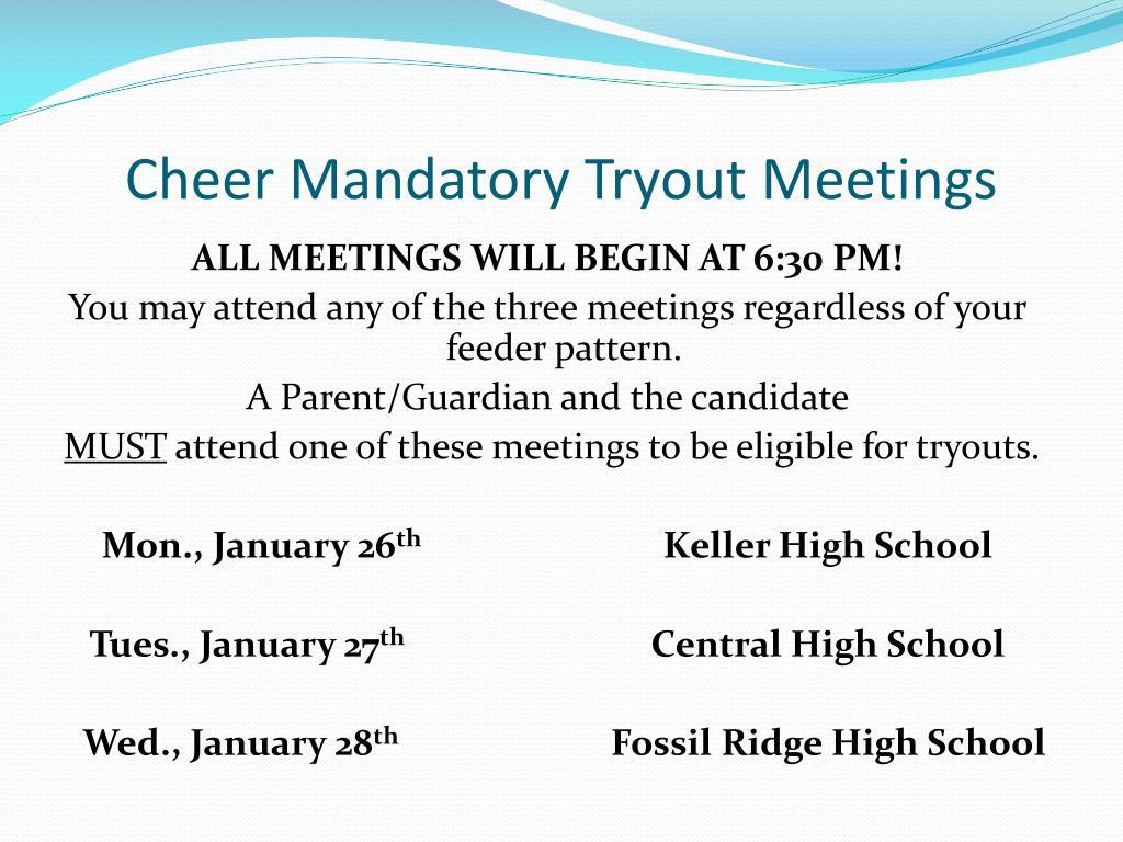 Cheer Mandatory Tryout Meetings