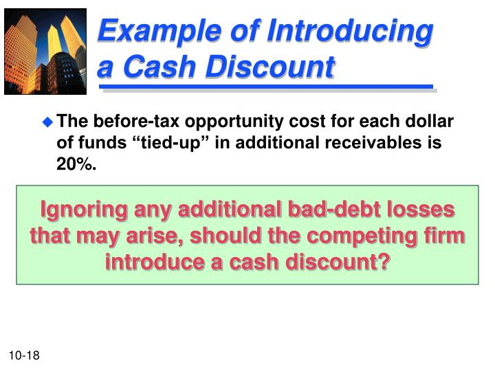 Example of Introducing a Cash Discount