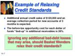 example of relaxing credit standards1