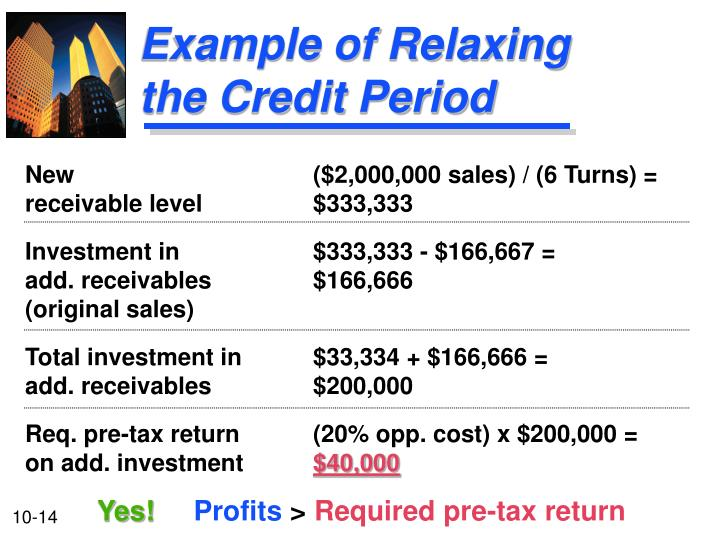 Example of Relaxing the Credit Period