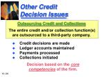 other credit decision issues1