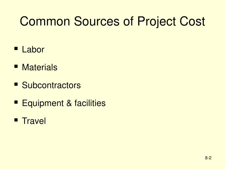 Common Sources of Project Cost