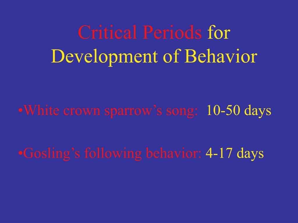 Critical Periods