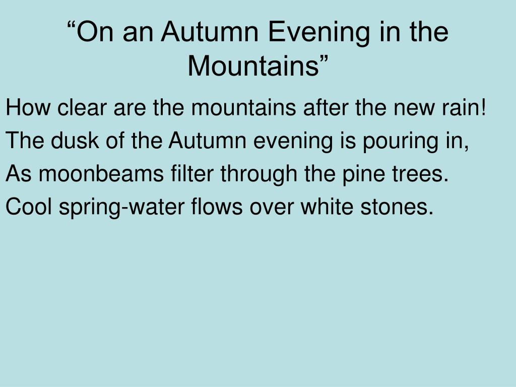"""""""On an Autumn Evening in the Mountains"""""""