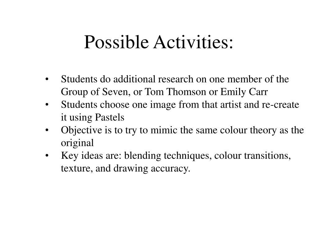 Possible Activities: