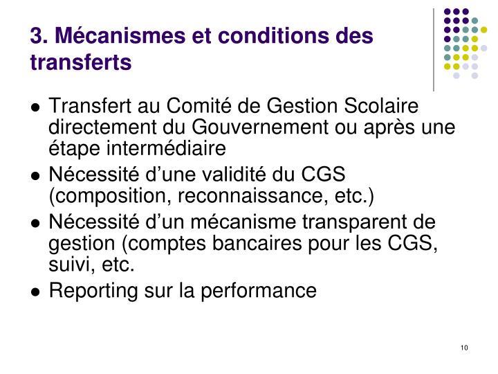 3. Mécanismes et conditions des transferts