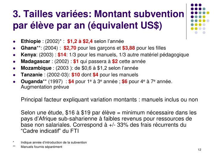 3. Tailles variées: Montant subvention par élève par an (équivalent US$)