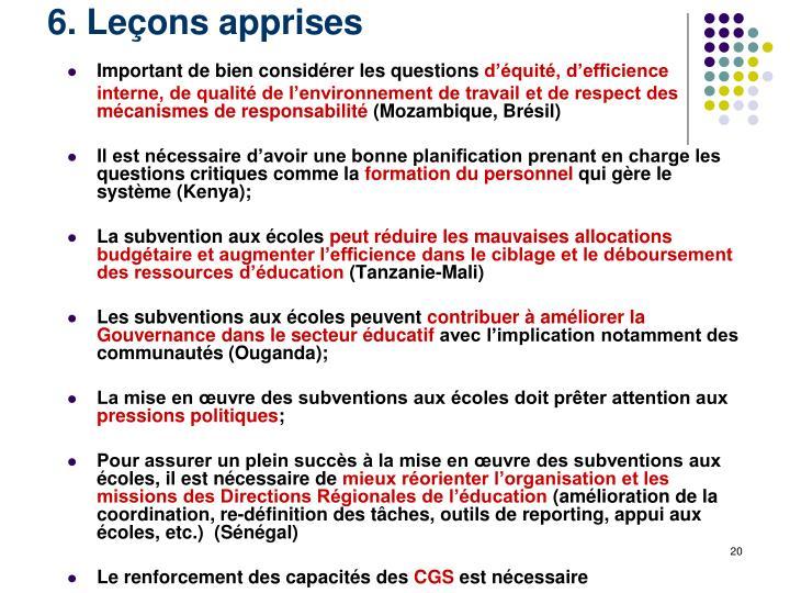 6. Leçons apprises