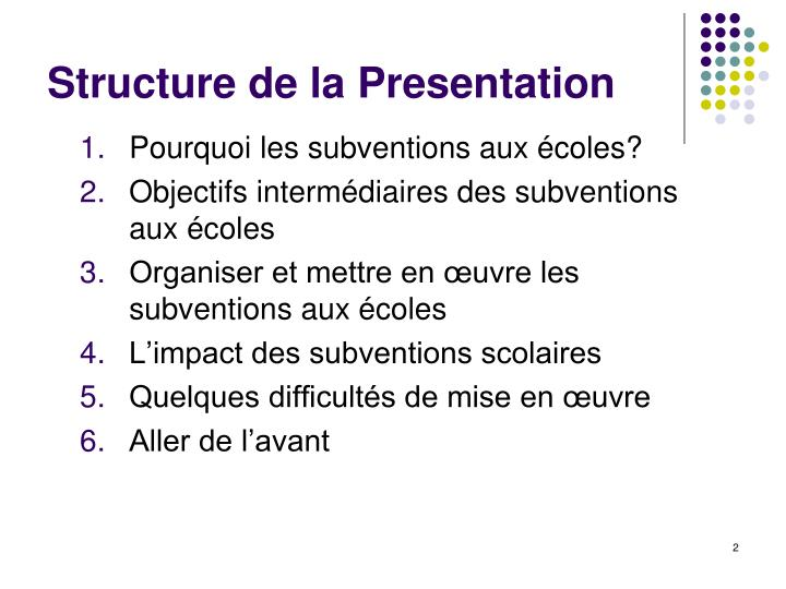 Structure de la Presentation