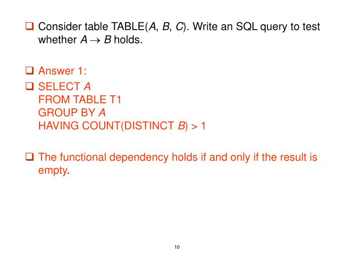 Consider table TABLE(