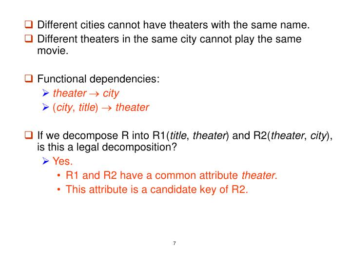 Different cities cannot have theaters with the same name.