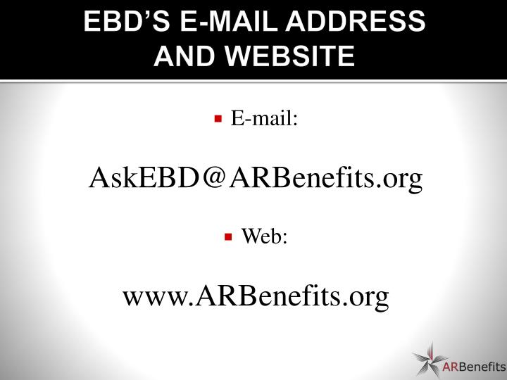 EBD'S E-MAIL ADDRESS