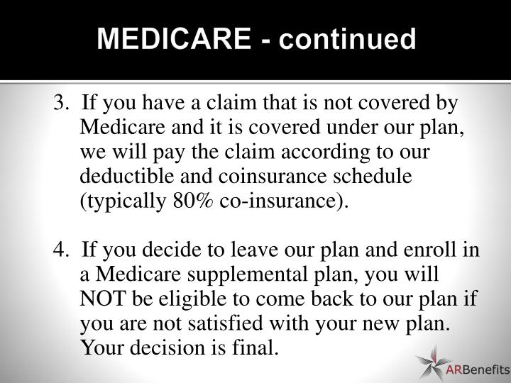 MEDICARE - continued
