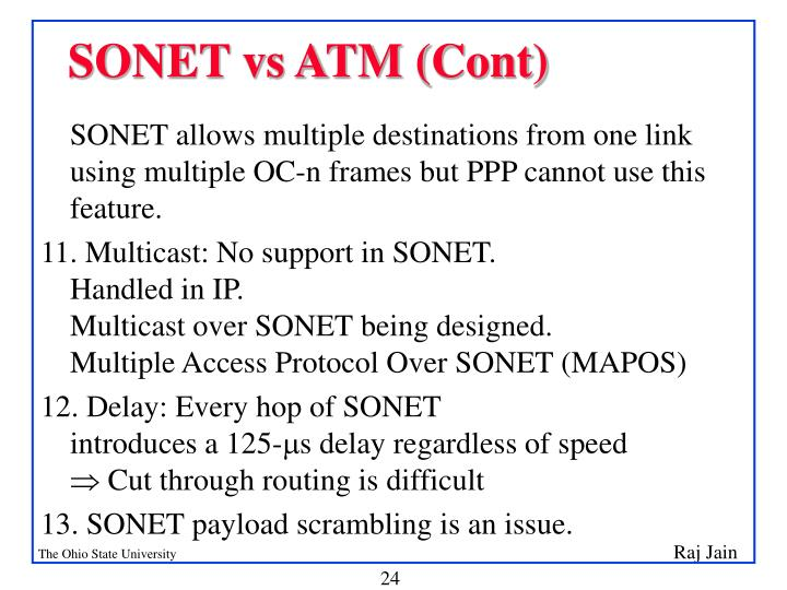 SONET vs ATM (Cont)