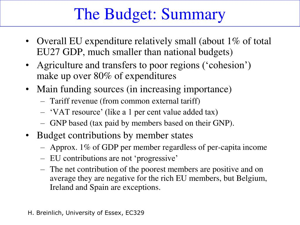 The Budget: Summary