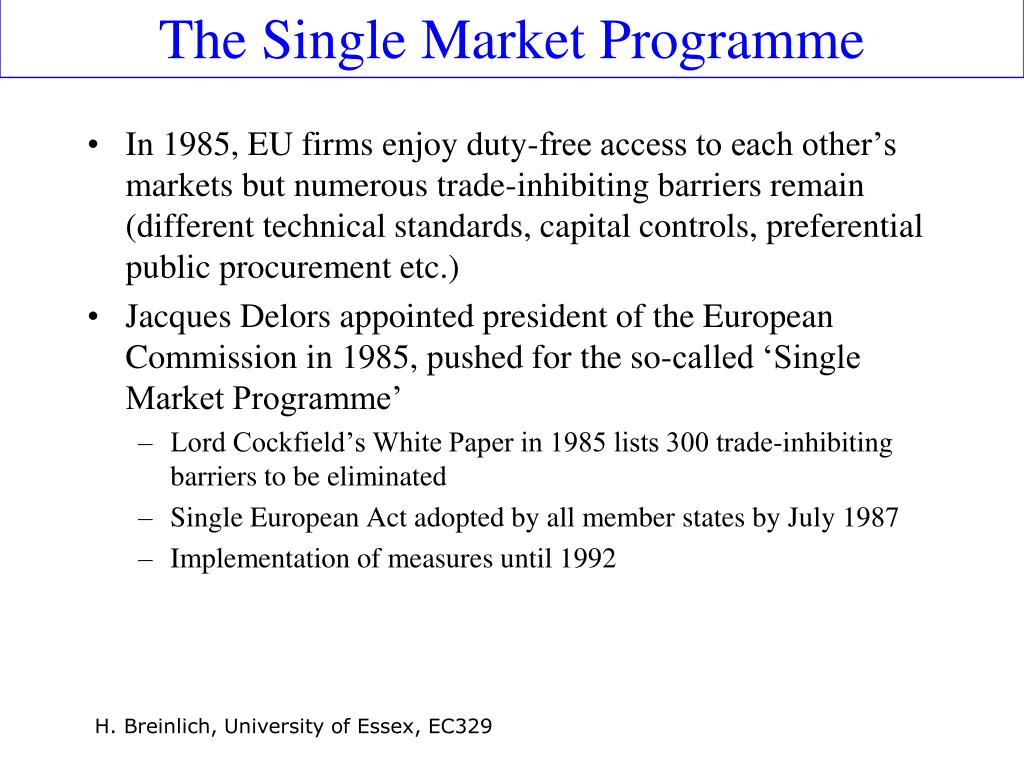 The Single Market Programme