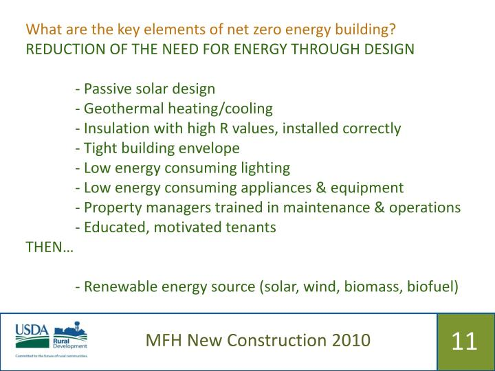 What are the key elements of net zero energy building?