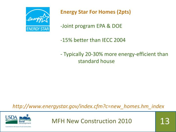 Energy Star For Homes (2pts)