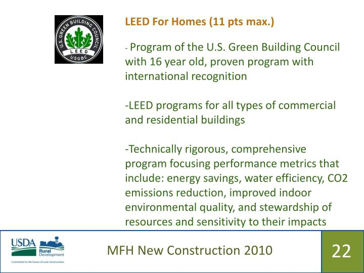 LEED For Homes (11 pts max.)