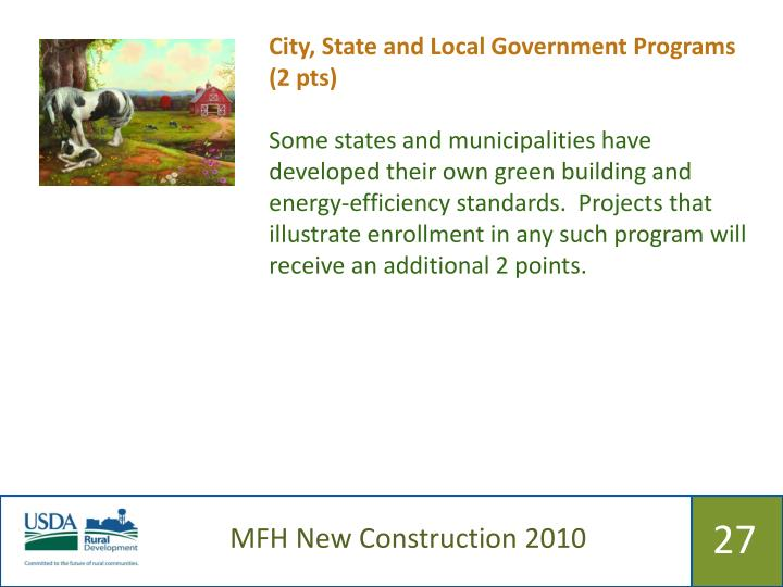 City, State and Local Government Programs (2 pts)