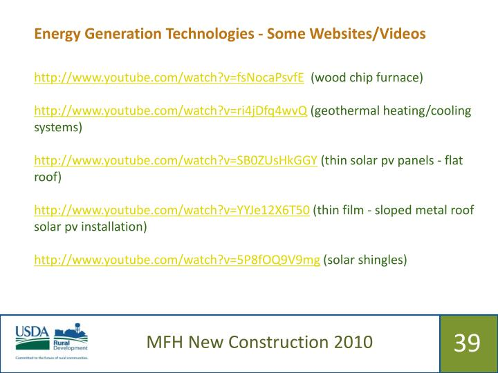 Energy Generation Technologies - Some Websites/Videos