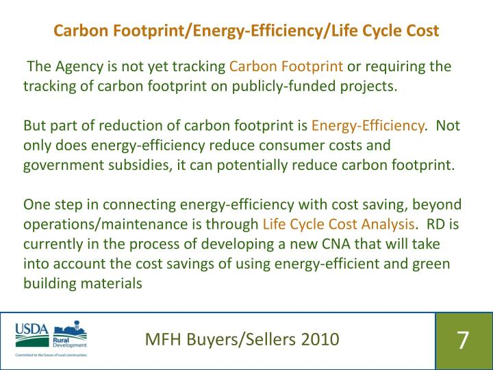 Carbon Footprint/Energy-Efficiency/Life Cycle Cost