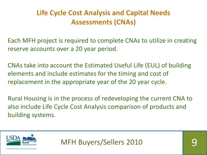 Life Cycle Cost Analysis and Capital Needs Assessments (CNAs)