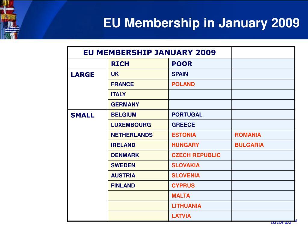 EU Membership in January 2009