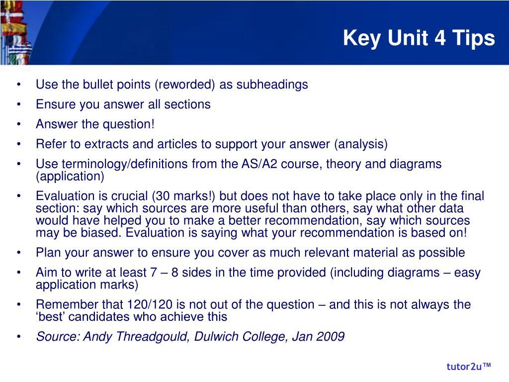 Key Unit 4 Tips