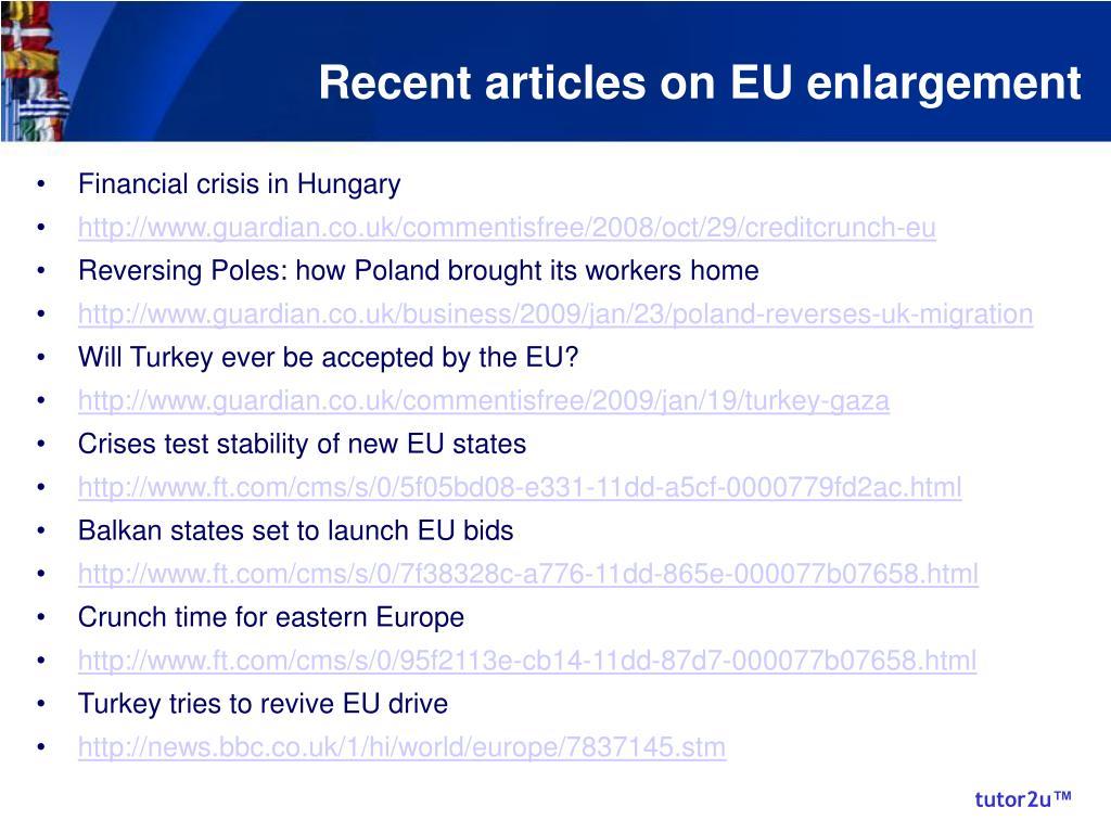 Recent articles on EU enlargement