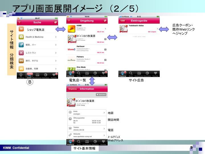 アプリ画面展開イメージ (2/5)