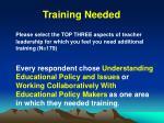 training needed