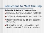 reductions to meet the cap19