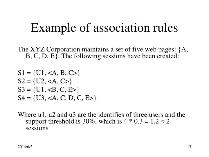 Example of association rules