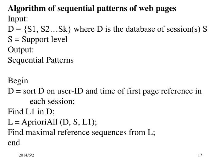 Algorithm of sequential patterns of web pages
