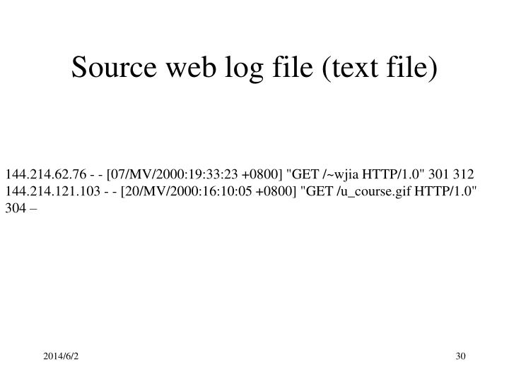 Source web log file (text file)