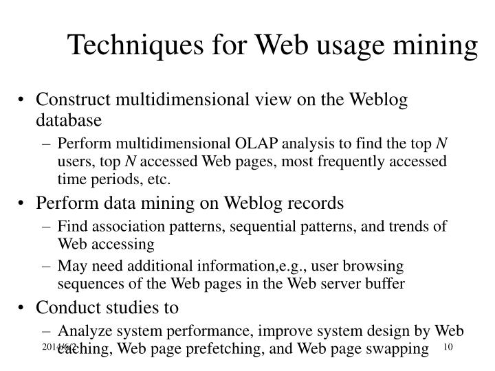 Techniques for Web usage mining