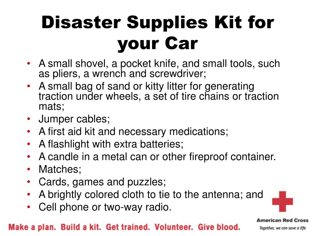 Disaster Supplies Kit for your Car
