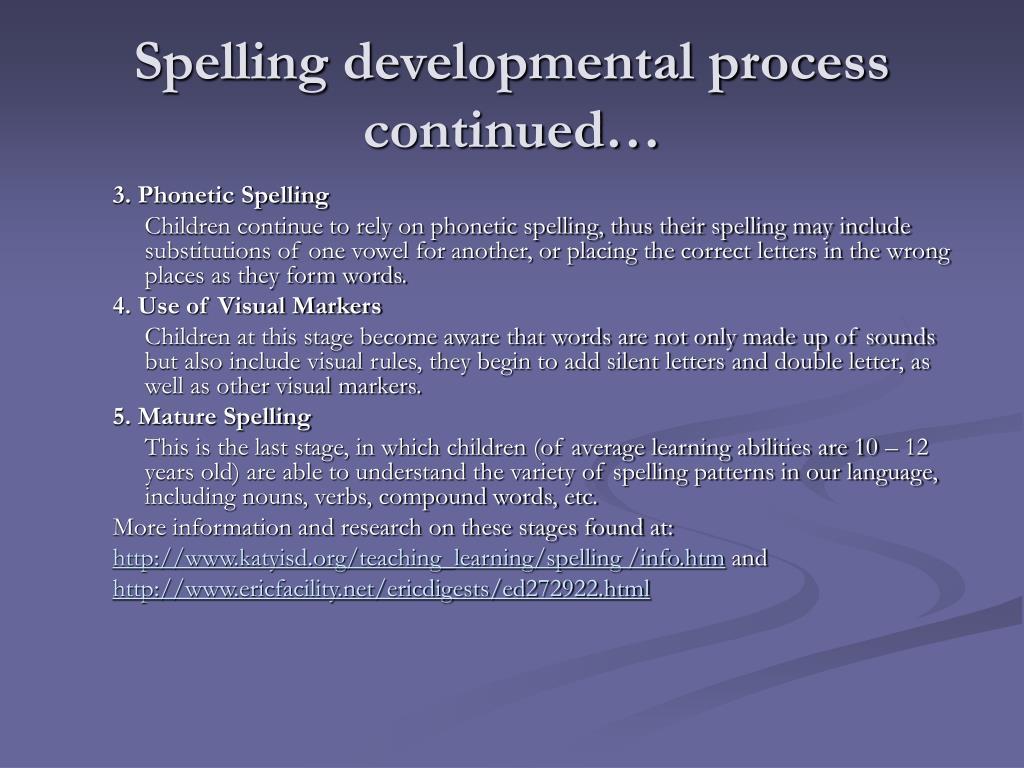Spelling developmental process continued…