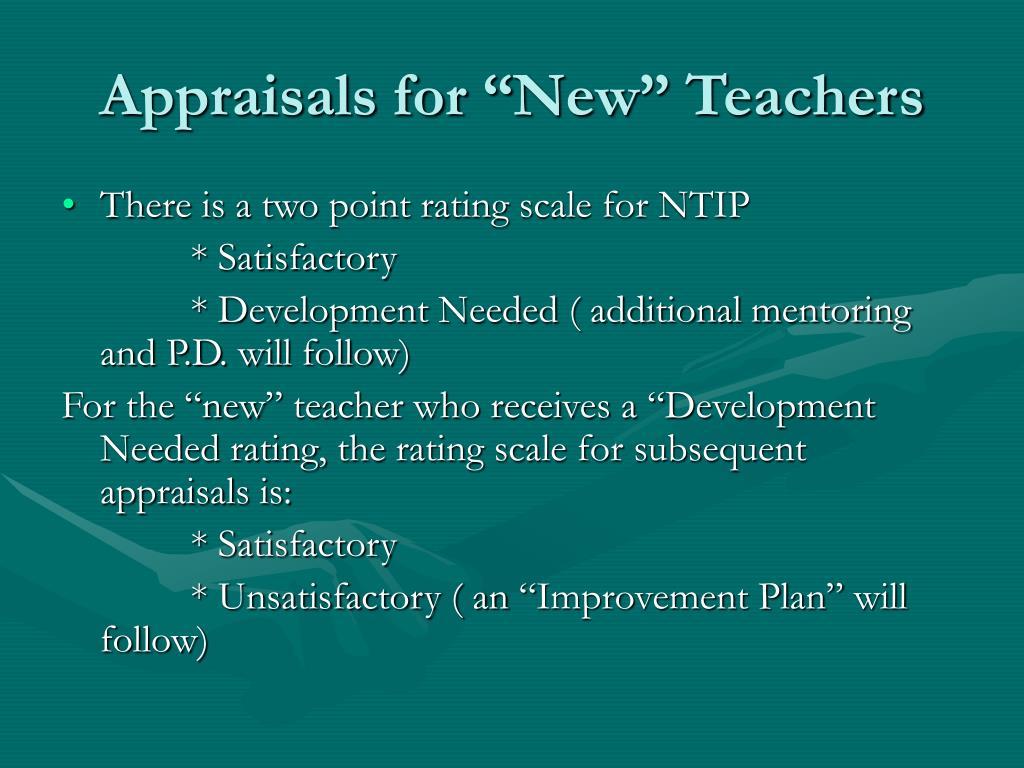 """Appraisals for """"New"""" Teachers"""