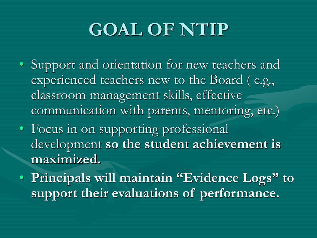 GOAL OF NTIP