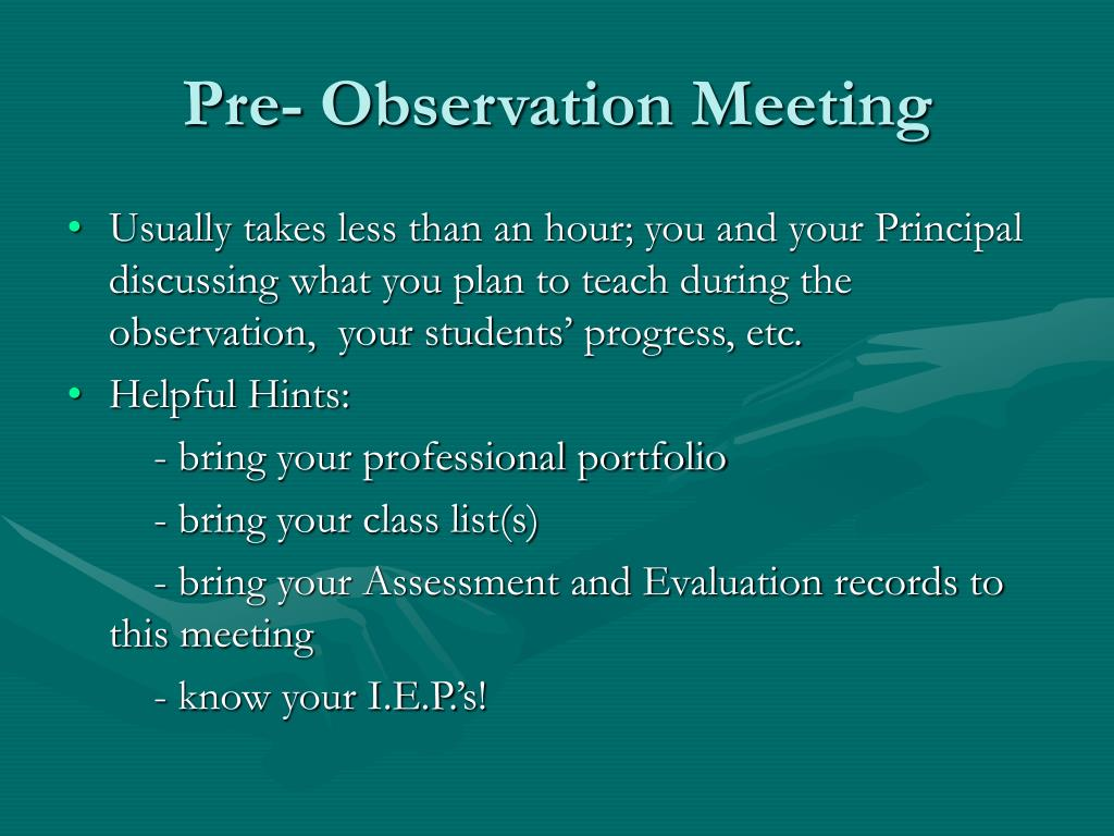 Pre- Observation Meeting
